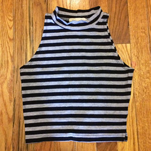 Black & Gray Striped Mock Neck Sleeveless Crop Top